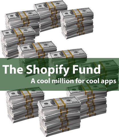 """The Shopify Fund: A cool million for cool apps"": Stacks on hundred-dollar bills arranged into an ""S"" shape"