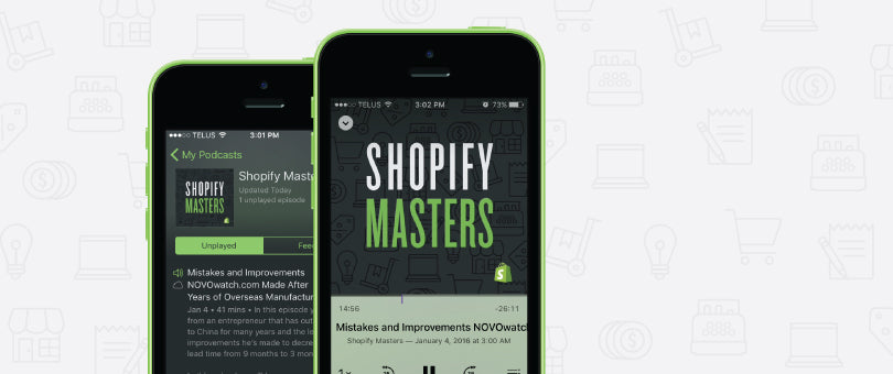 Shopify Masters playing on smartphone
