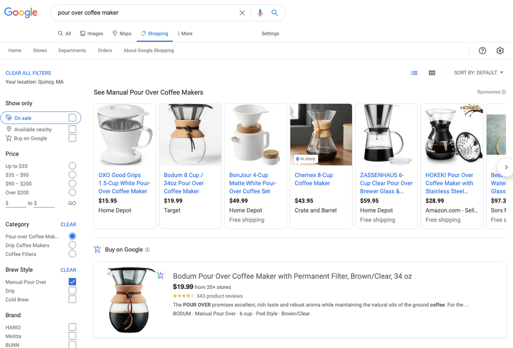 Example of Shopping ads under the Shopping tab in Google