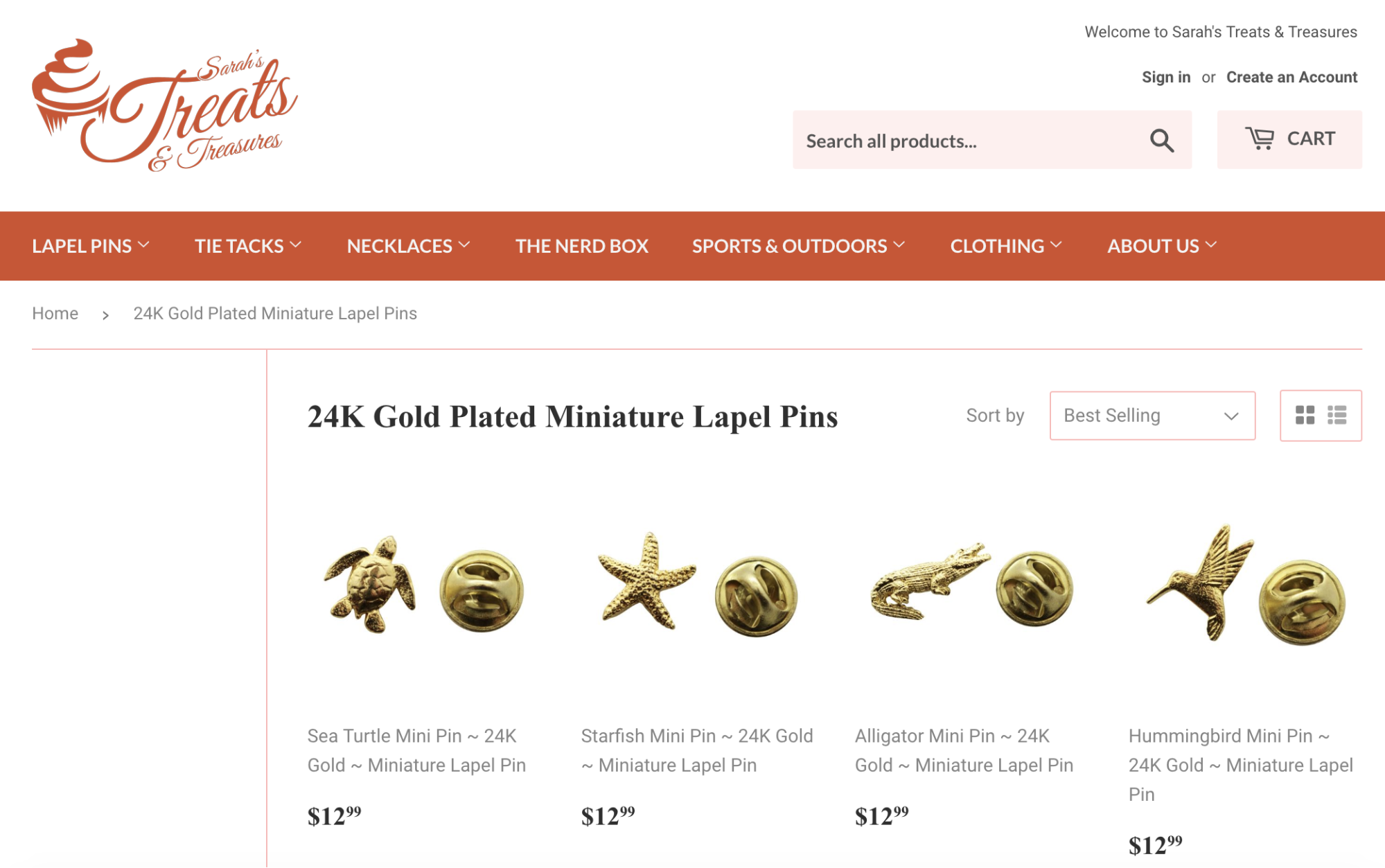The Sarah's Treats and Treasures Shopify store