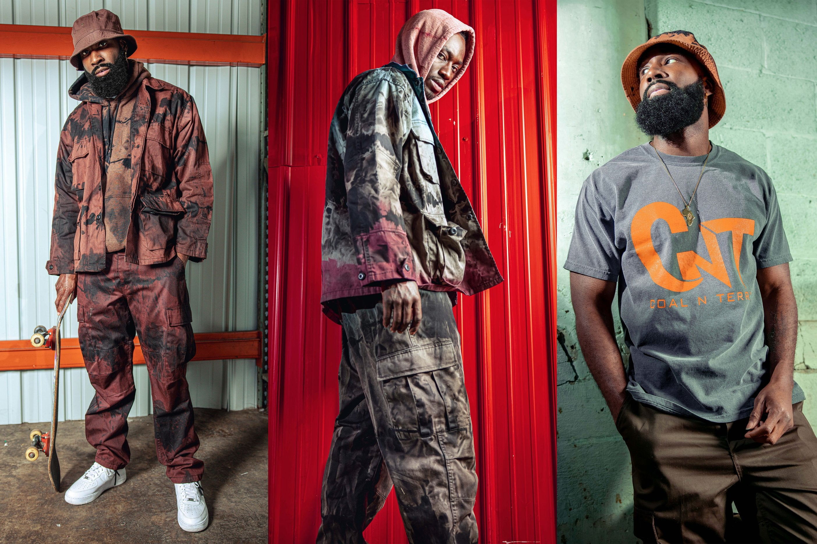 3-panel photo with models wearing tie-dyed hoodies and cargo pants