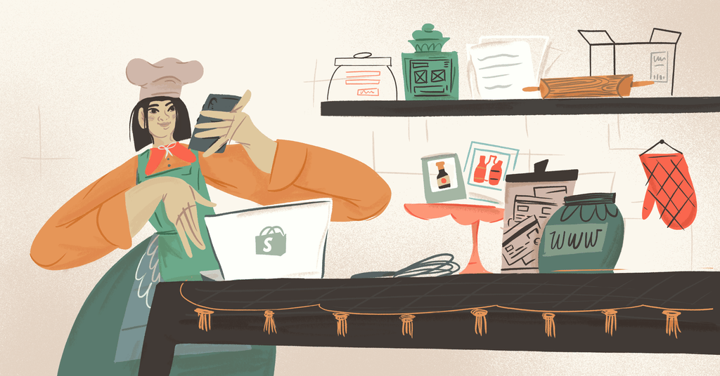 illustration of a chef cooking up a shopify store with all the essential ingredients, such as a logo, domain, website theme.