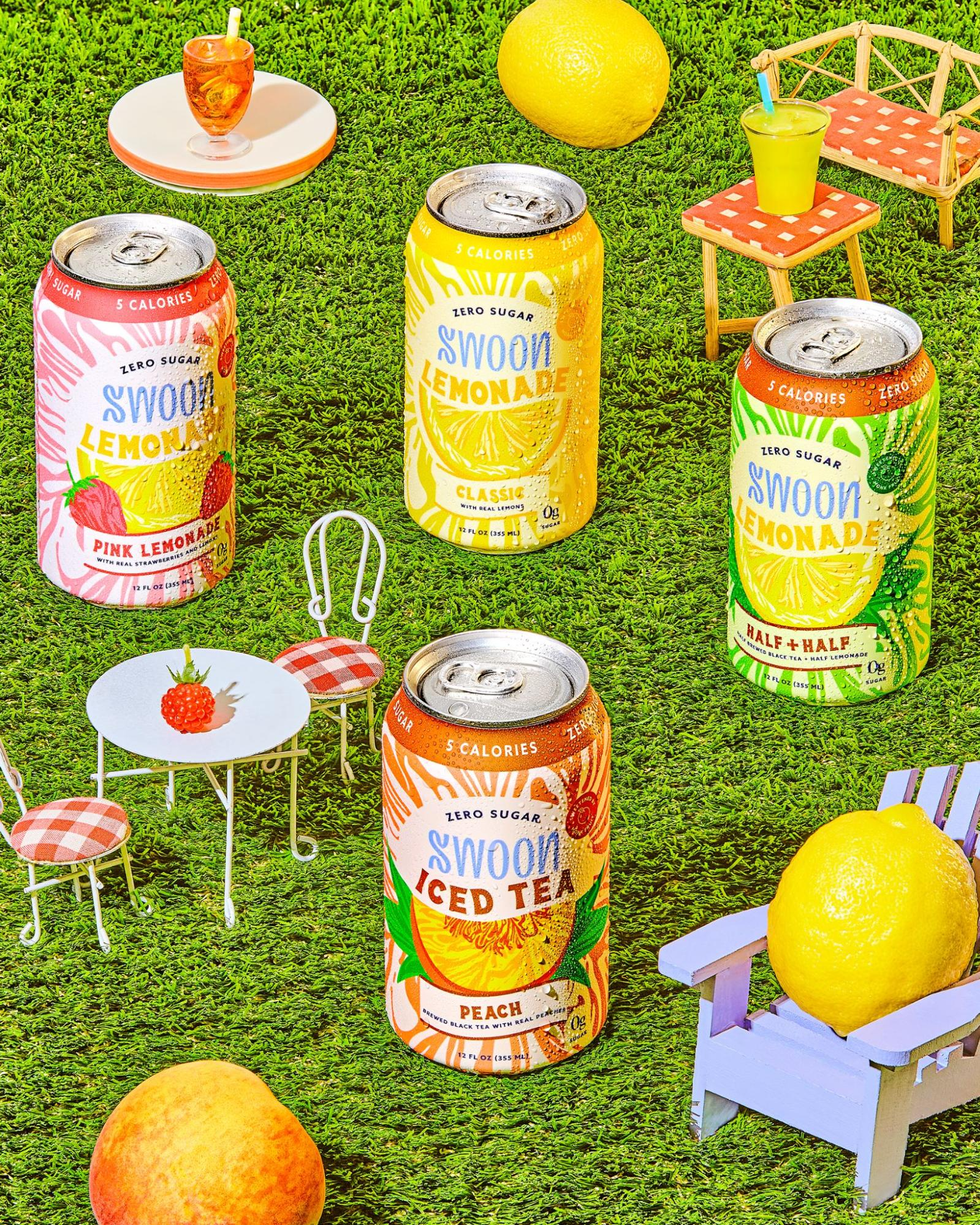 Four different beverages by Swoon are displayed against a grass background.