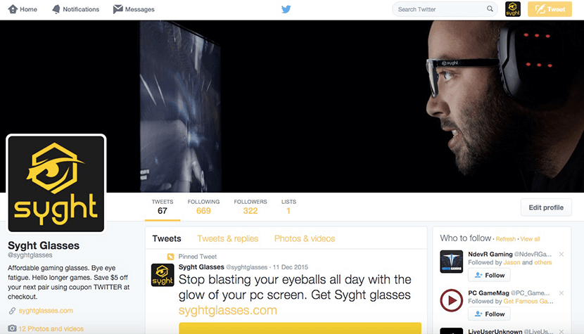 Syght Glasses Twitter account