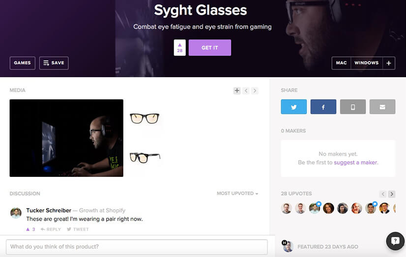 Syght Glasses Product Hunt submission