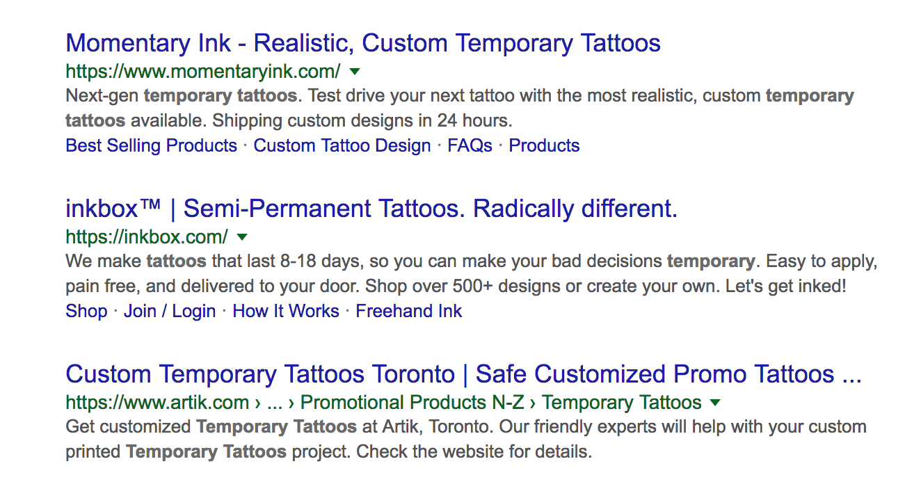 Temporary tattoos search engine results page