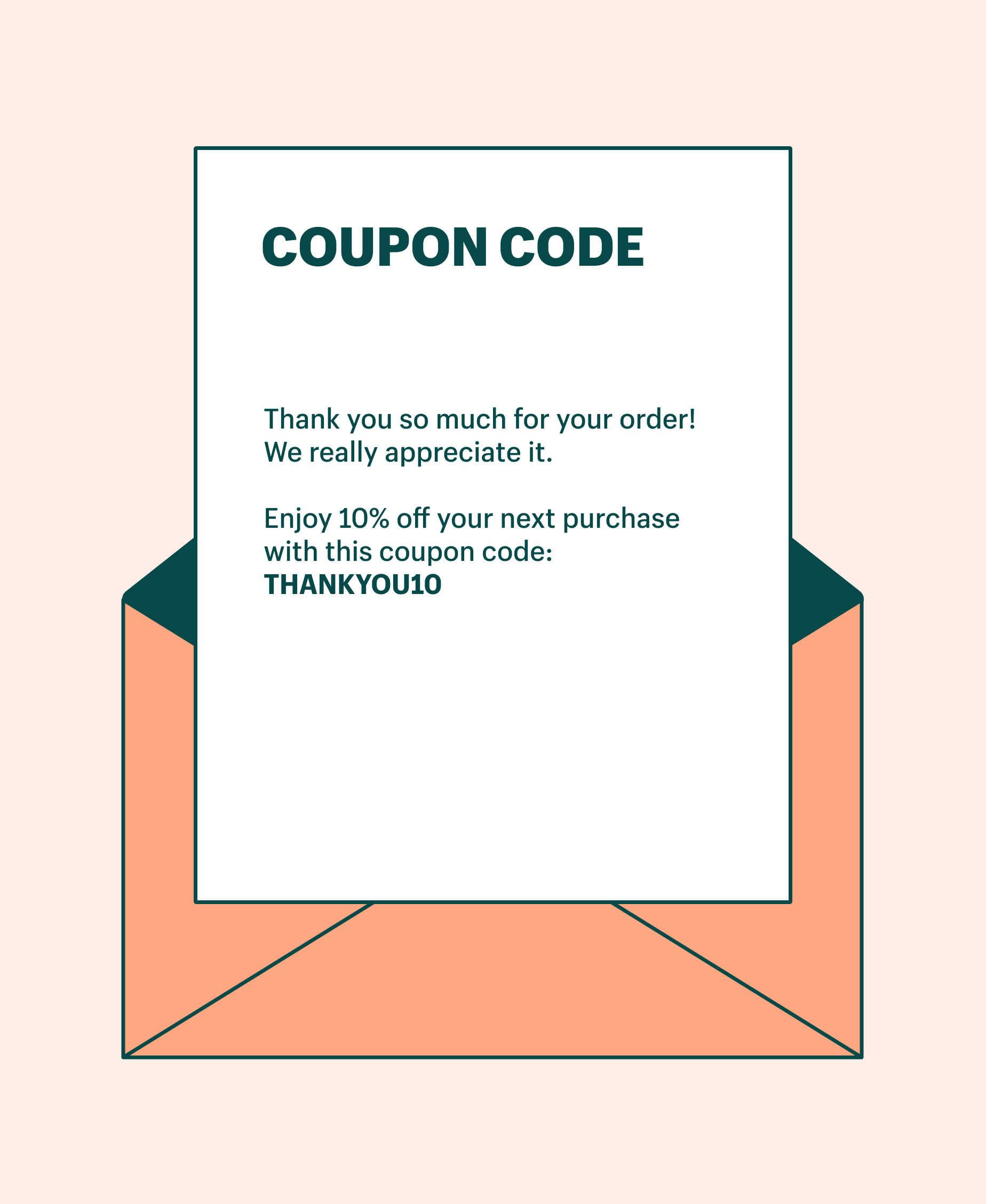Graphic of a thank you for your purchase note to a customer with a coupon code