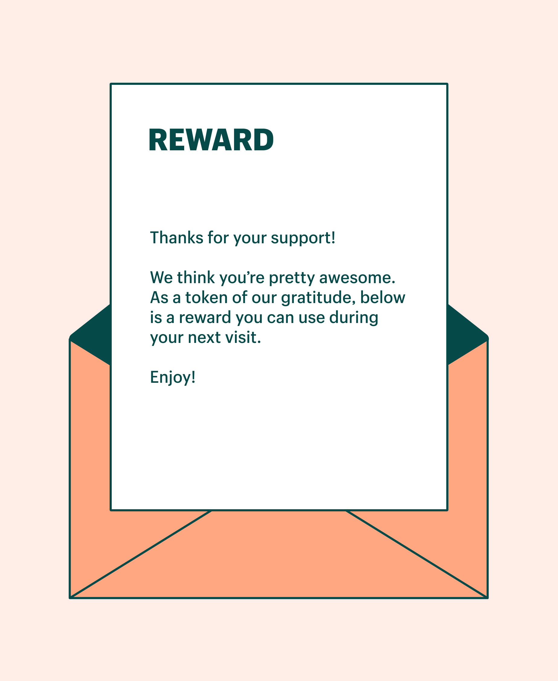 Template of a thank you for your purchase note to a customer to offer them a reward for being loyal