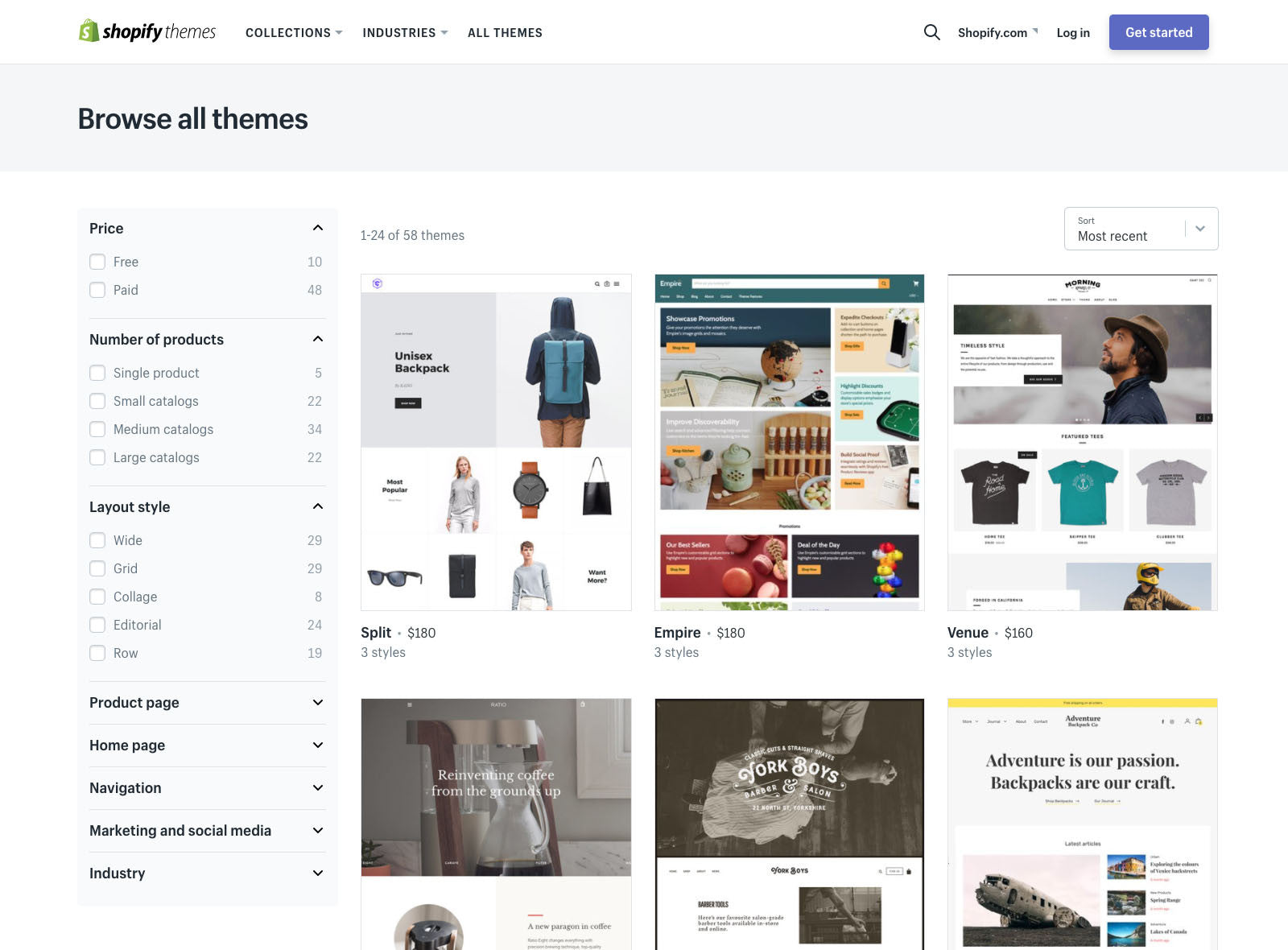 Shopify theme store filtering