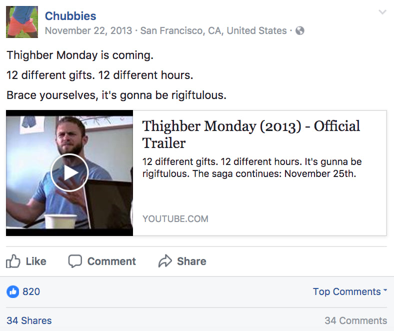 Chubbies Facebook post about Thighber Monday