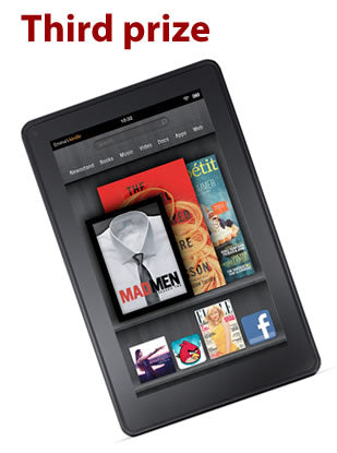 Third prize: Amazon Kindle Fire