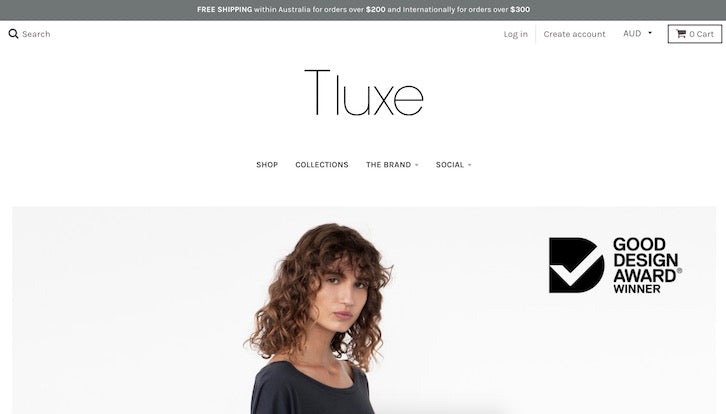 c584c3657 2018 Good Design Award Winner Tluxe has just two main features in addition  to the navigation on its homepage  a main banner image and an Instagram  feed.