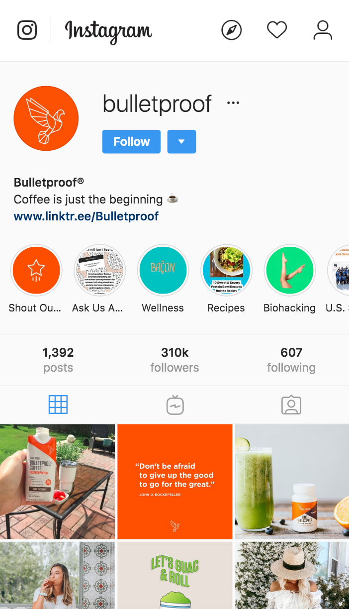 bulletproof coffee instagram profile