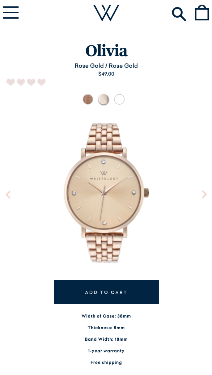 olivia watch product page