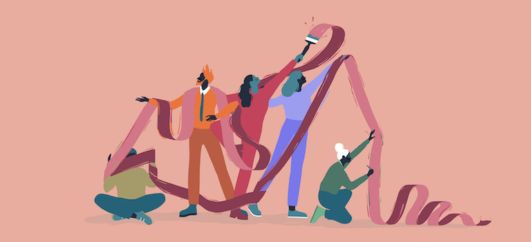 Illustration of several people sorting out a giant ribbon using teamwork