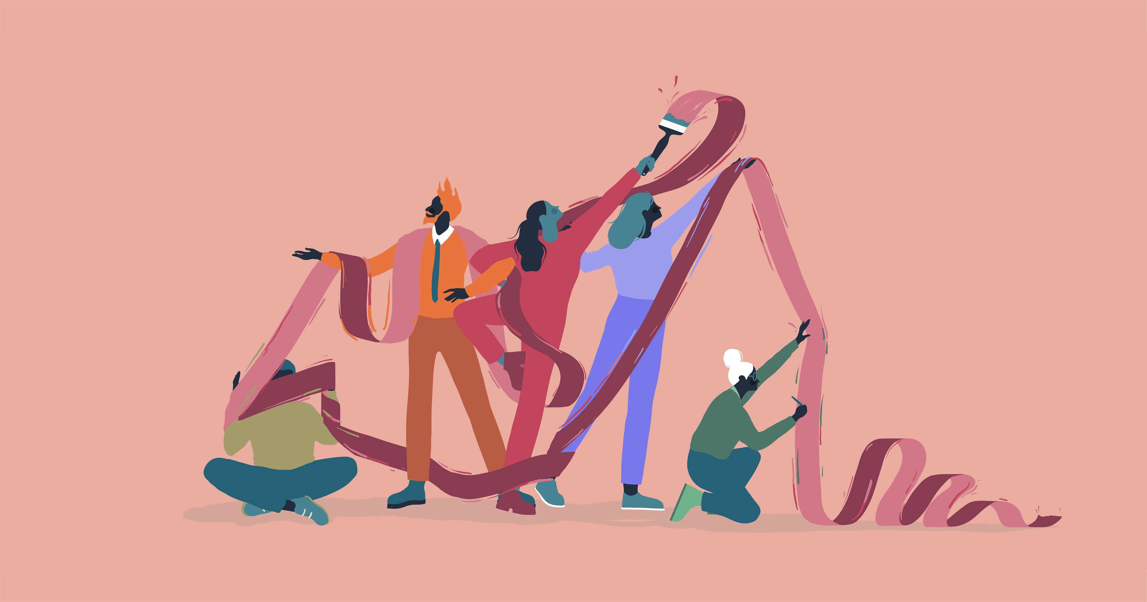 Illustration of a group of people unraveling a giant ribbon