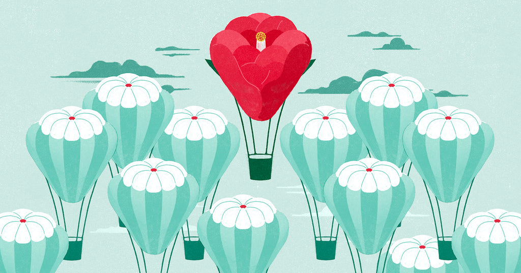 Illustration of a red balloon rising above other light blue balloons, representing how a unique selling proposition helps you rise above the competition