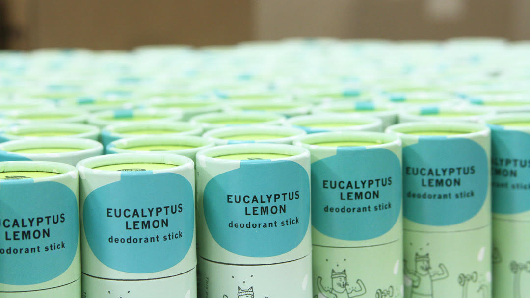 Rows of Meow Meow Tweet's Eucalyptus Lemon deodorant sticks.