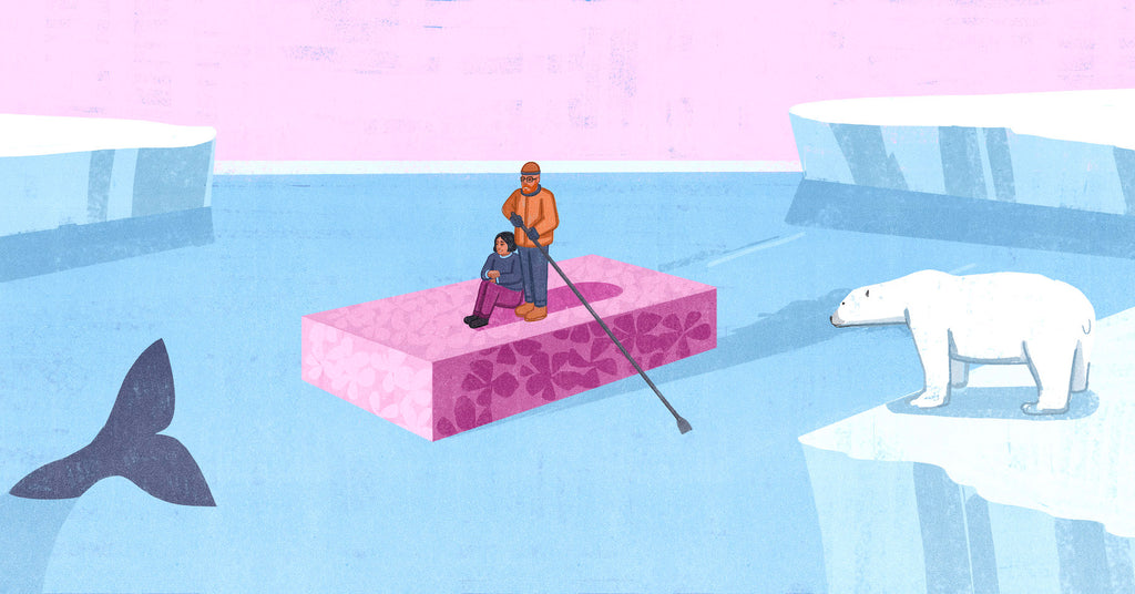 Illustration of Bernice and Justin Clarke sailing on a bar of the soap that they made, that is violet with implied native flora on it. Icebergs surround them and there is a polar bear looking at them in the foreground.