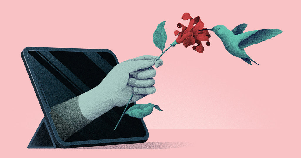 Illustration of a hummingbird landing on a hand holding a flower from a computer screen, representing how your value proposition needs to appeal to your target customer