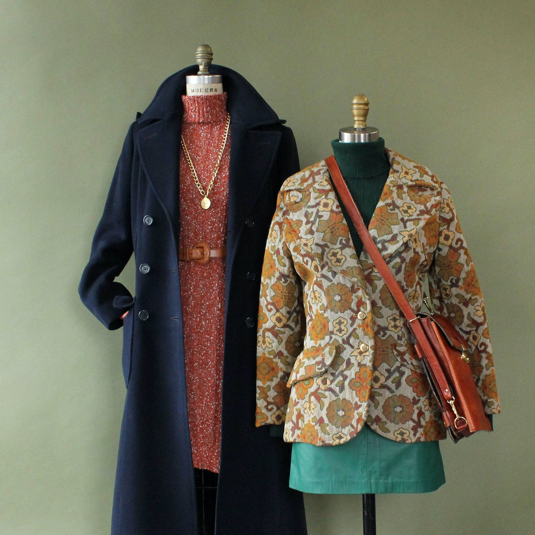 Vintage clothing styled on dressforms