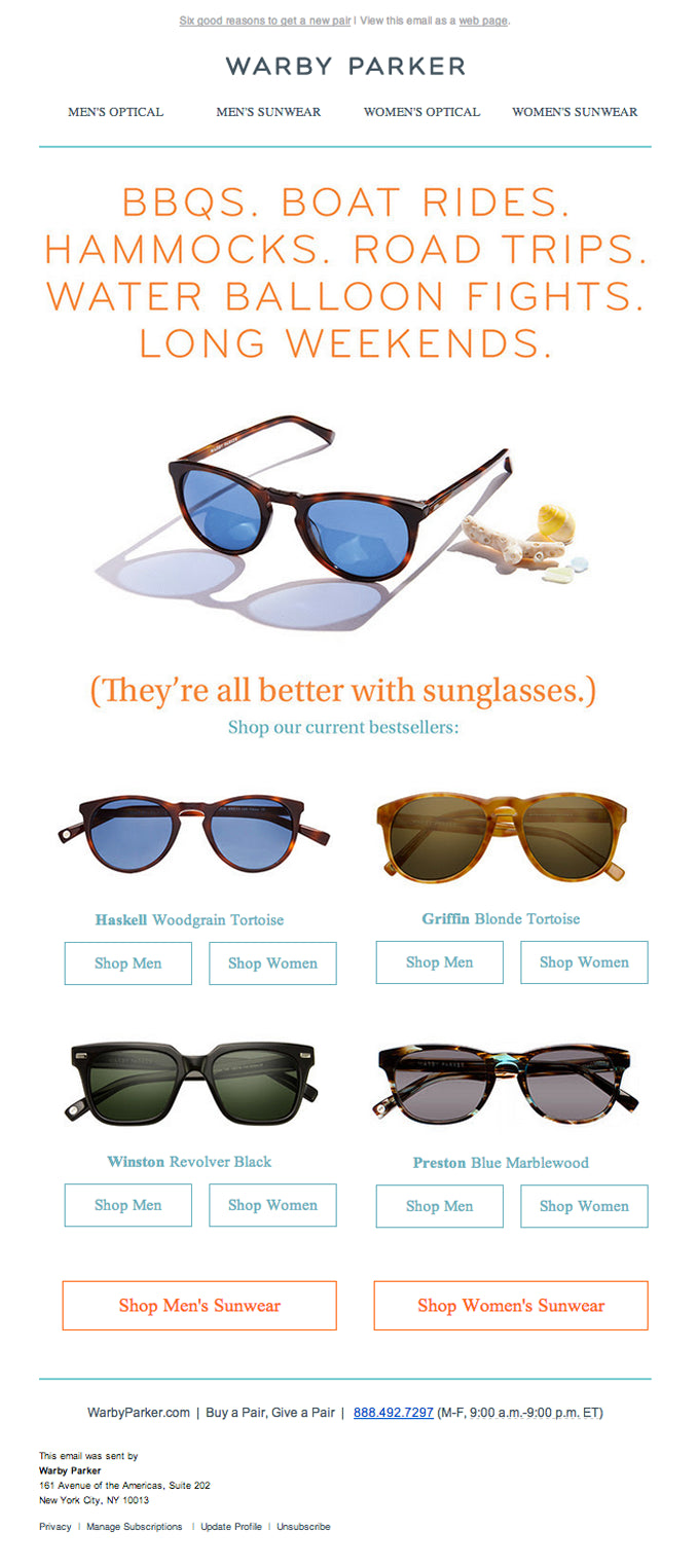Warby Parker email campaign