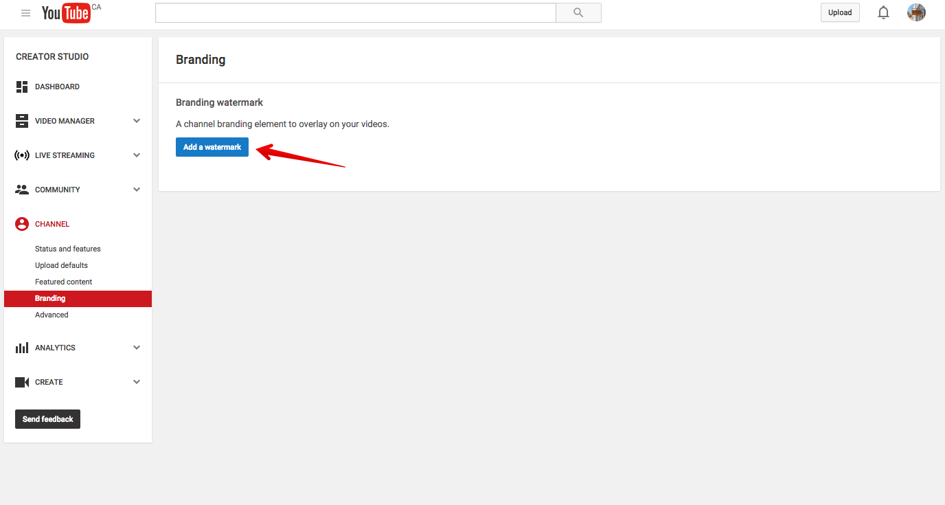 Add a watermark to YouTube: step 3