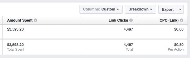 Screenshot of Facebook ad spend report for video