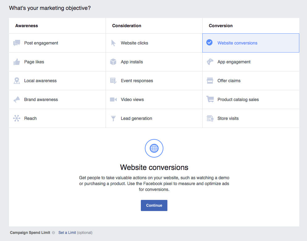 Screenshot of choosing website conversions in Facebook's Ads Manager