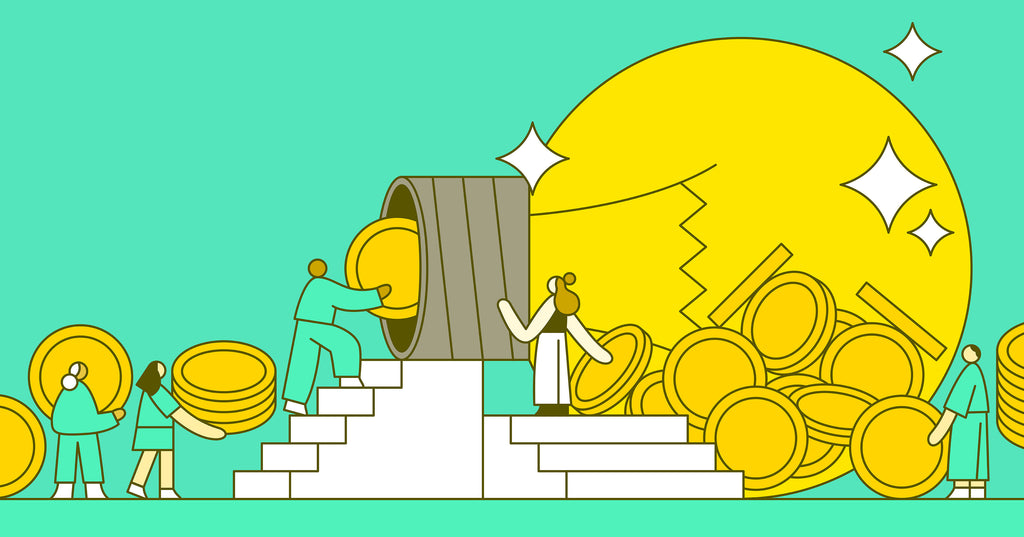 Illustration of two people climbing stairs and slotting coins into a lightbulb to represent crowdfunding a business idea