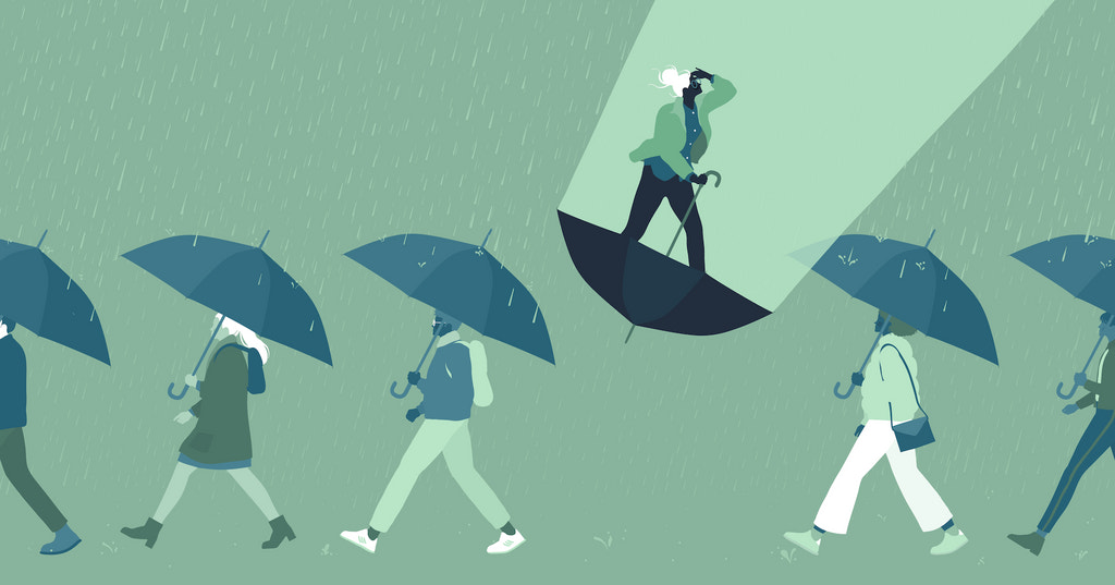 Illustration of people walking in a line holding umbrellas, while one person (representing an entrepreneur) stands on an upside down umbrella seeking the light