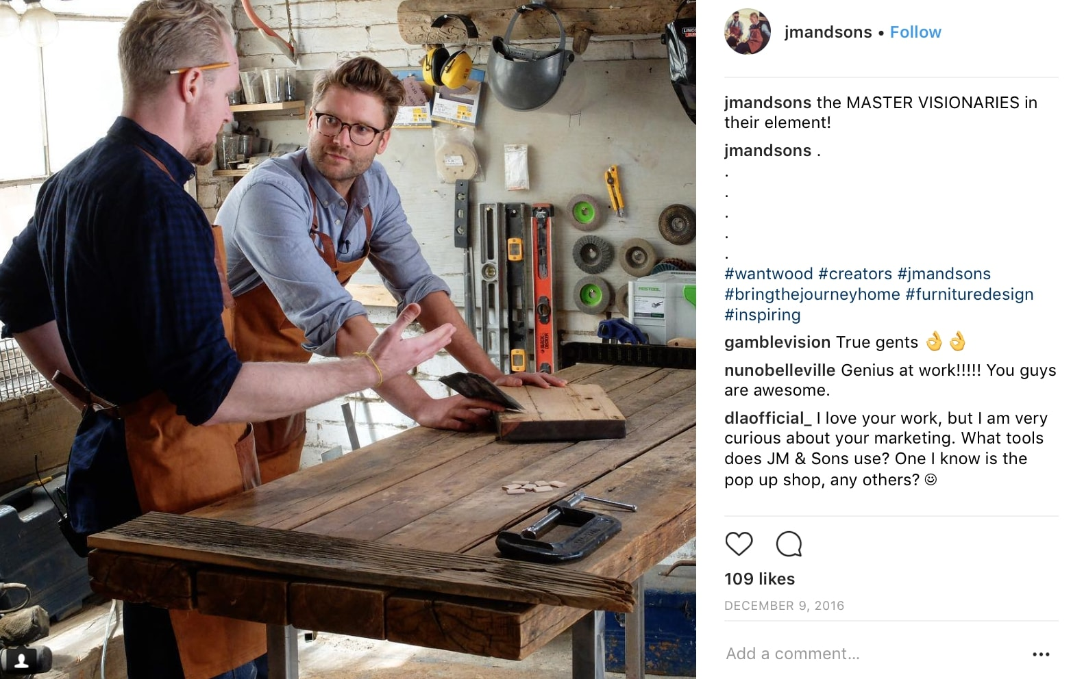 instagram post of employees working