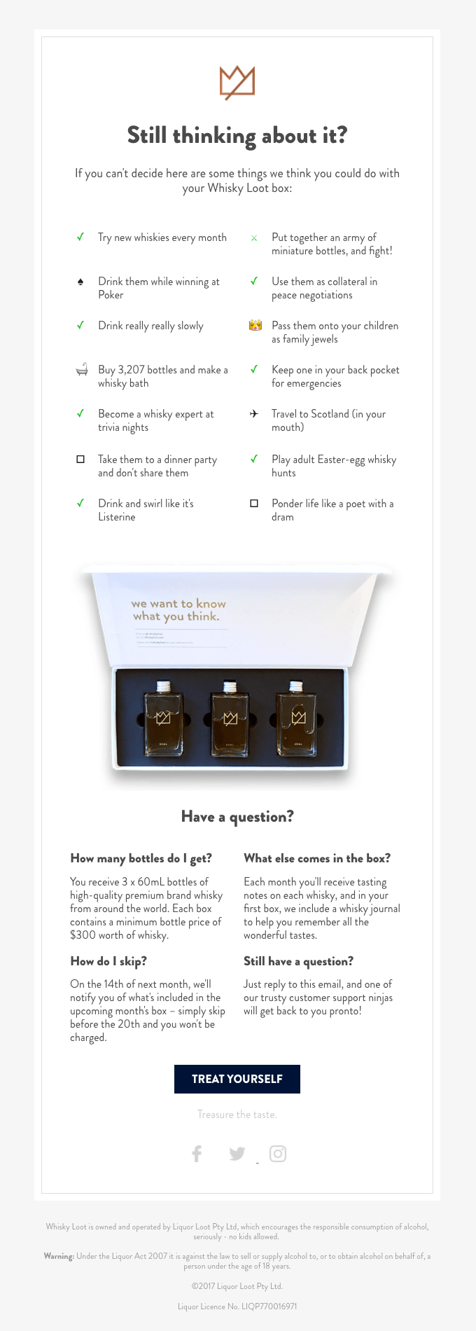 7 Automated Email Campaigns That Win Customers And Keep Them Coming Back Main Circuit Breaker Shut Off Tip Ask The Builder Whisky Loot Addresses Hesitations With Their Abandoned Cart Automation Overtly Listing Product Benefits Including Faqs To Push Users Complete