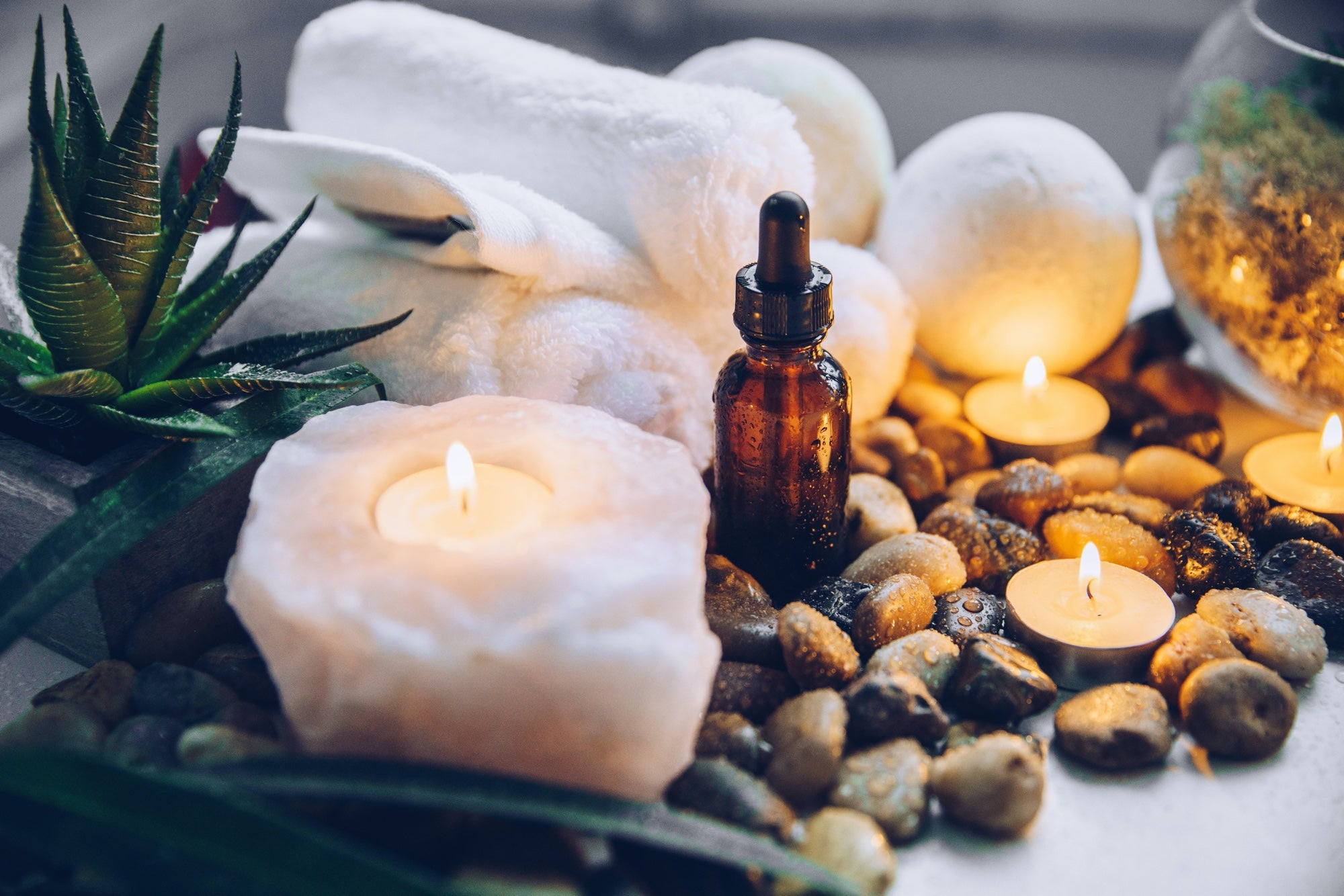 Spa products arranged around plants, stones, and a lit candle