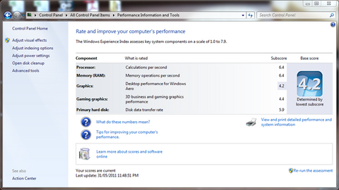 Screenshot of Windows Experience window for Windows on the Dell E6500 - Base score 4.2