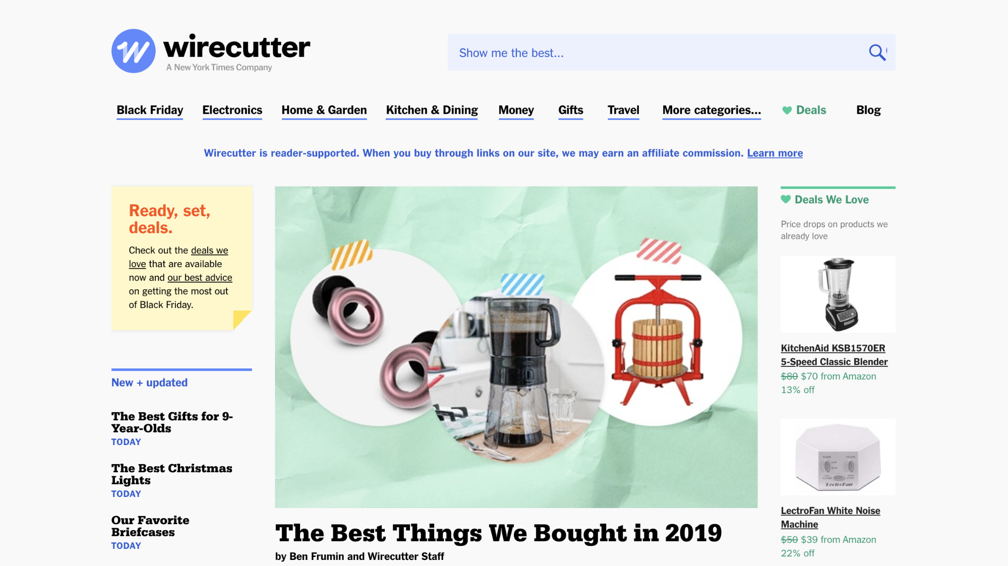 Image of Wirecutter's homepage, a business that monetizes writing reviews and roundups of home products like blenders or white noise machines