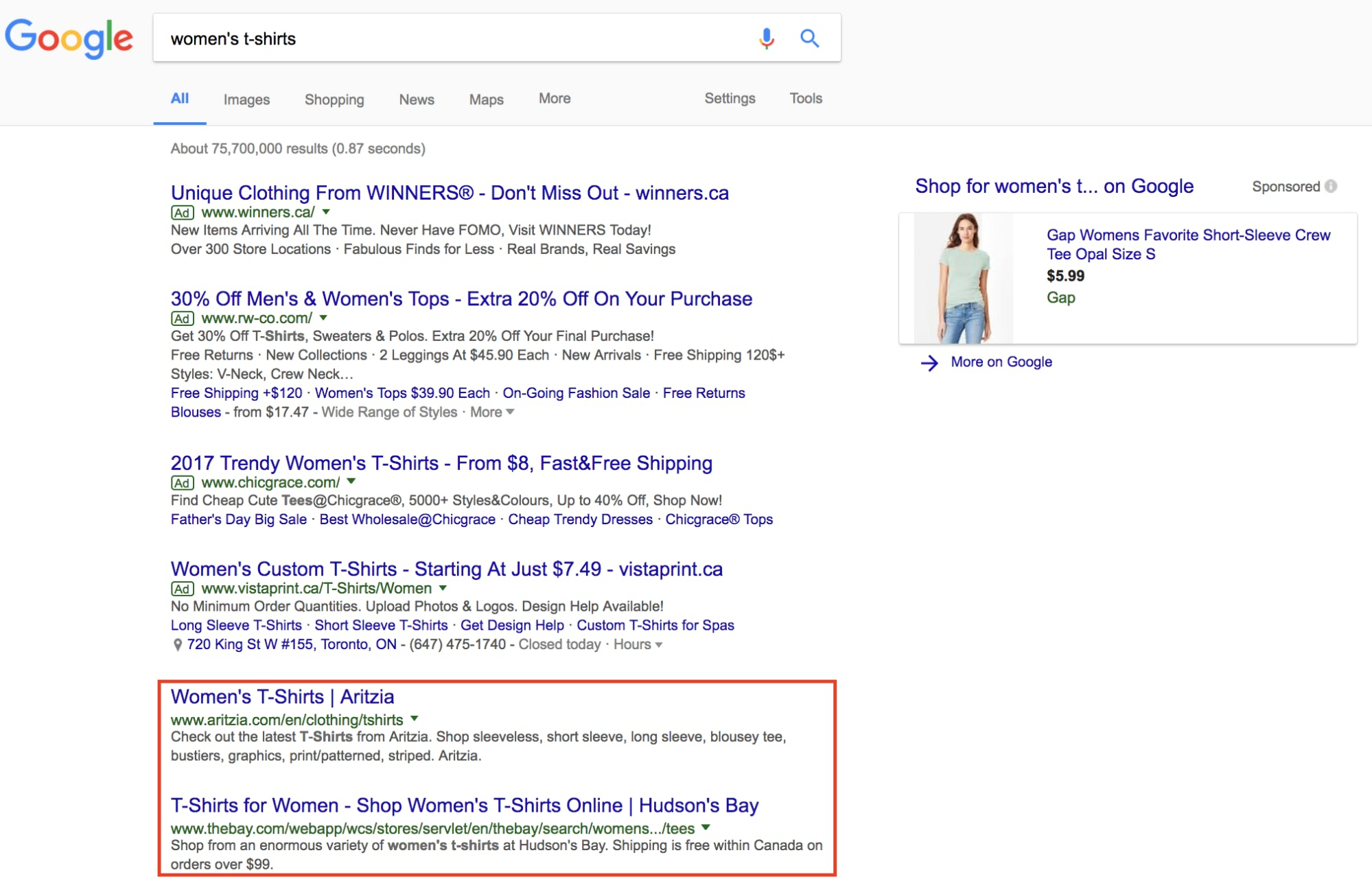 Organic search engine results