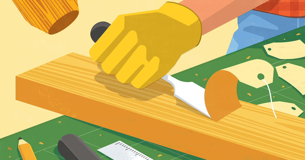 Illustration of someone on a woodworking project carving and chiseling and the chips of wood are in the shape of product price tags
