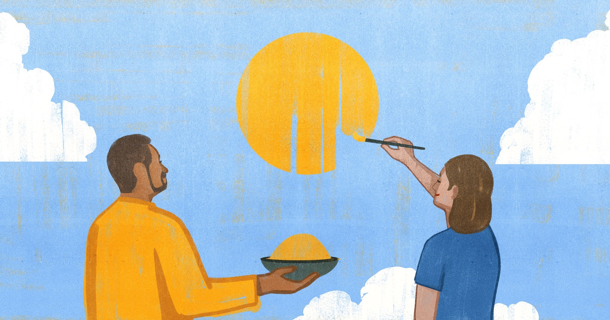 Illustration of Jaz Fenton and Jamil Bhuya painting a sun together using turmeric as a natural paint.