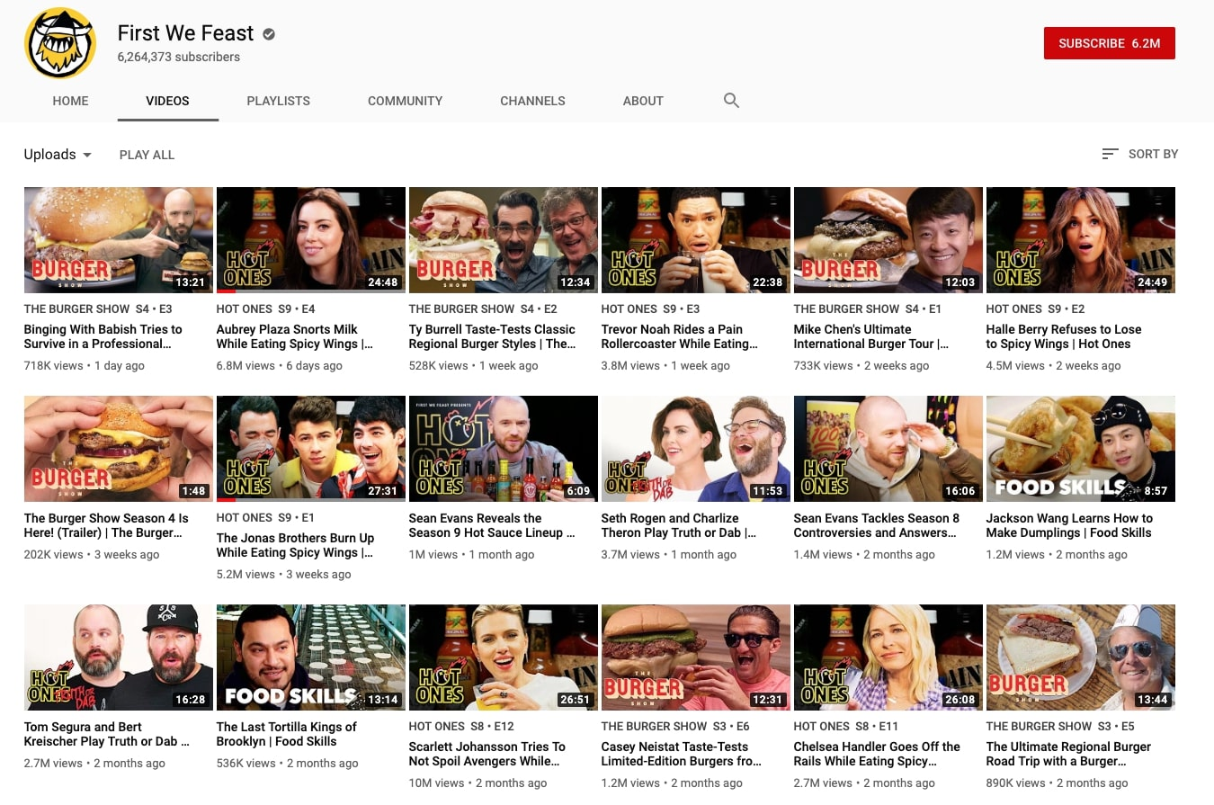 first we feast youtube channel is a good example of consistency