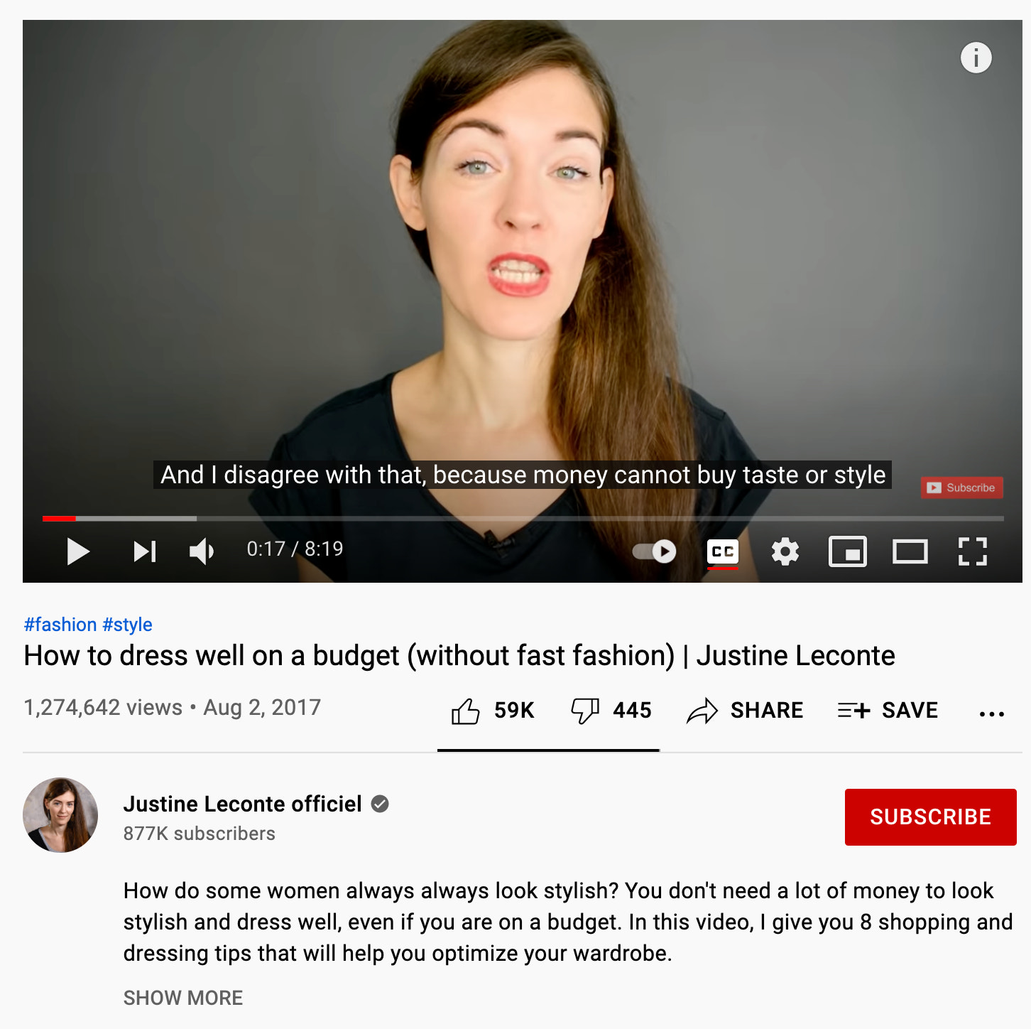 An example of what an educational video looks like comes from Justine Leconte, a fashion designer, teaching women how to be stylish on a budget