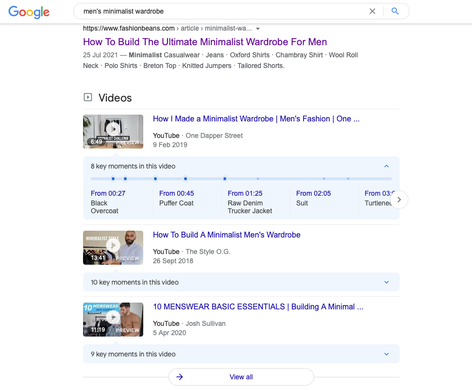 Example of YouTube Video SEO appearing in Google search results
