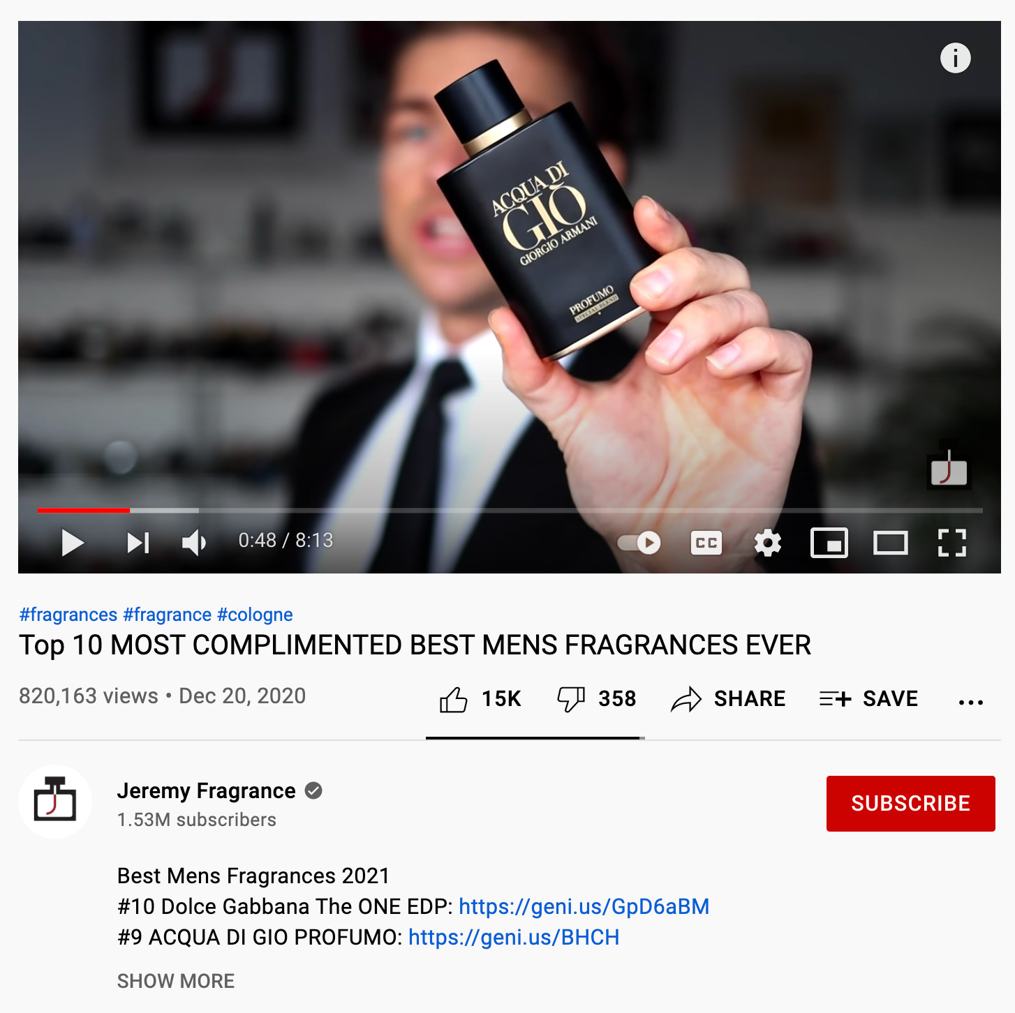 YouTube channel reviews and case studies example of how this is done by looking at Jeremy Fragrance