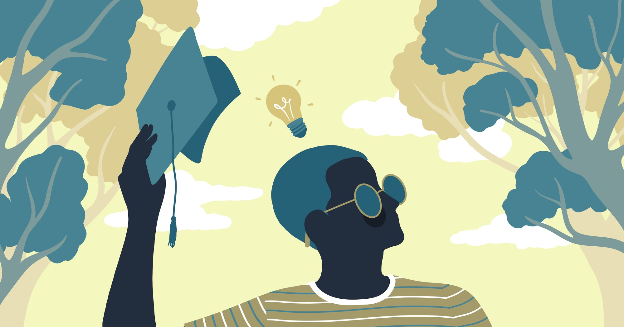 Illustration of a college student lifting a graduation cap to reveal an idea light bulb