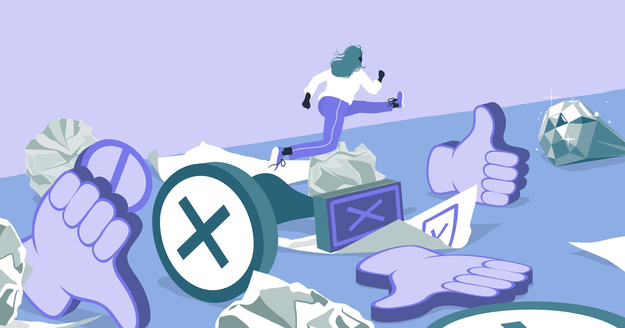 Illustration of a character jumping over symbols that represent rejection and heading for a large gem at the end of the course