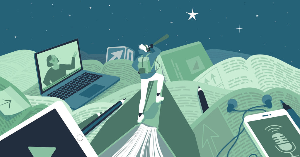 Illustration of a person scaling a mountain of oversized entrepreneur resources like books and digital devices