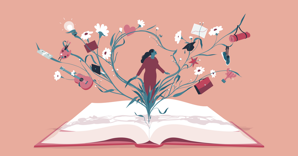 Illustration of person emerging from an open book and growing vines covered in different symbols to represent life and work balance