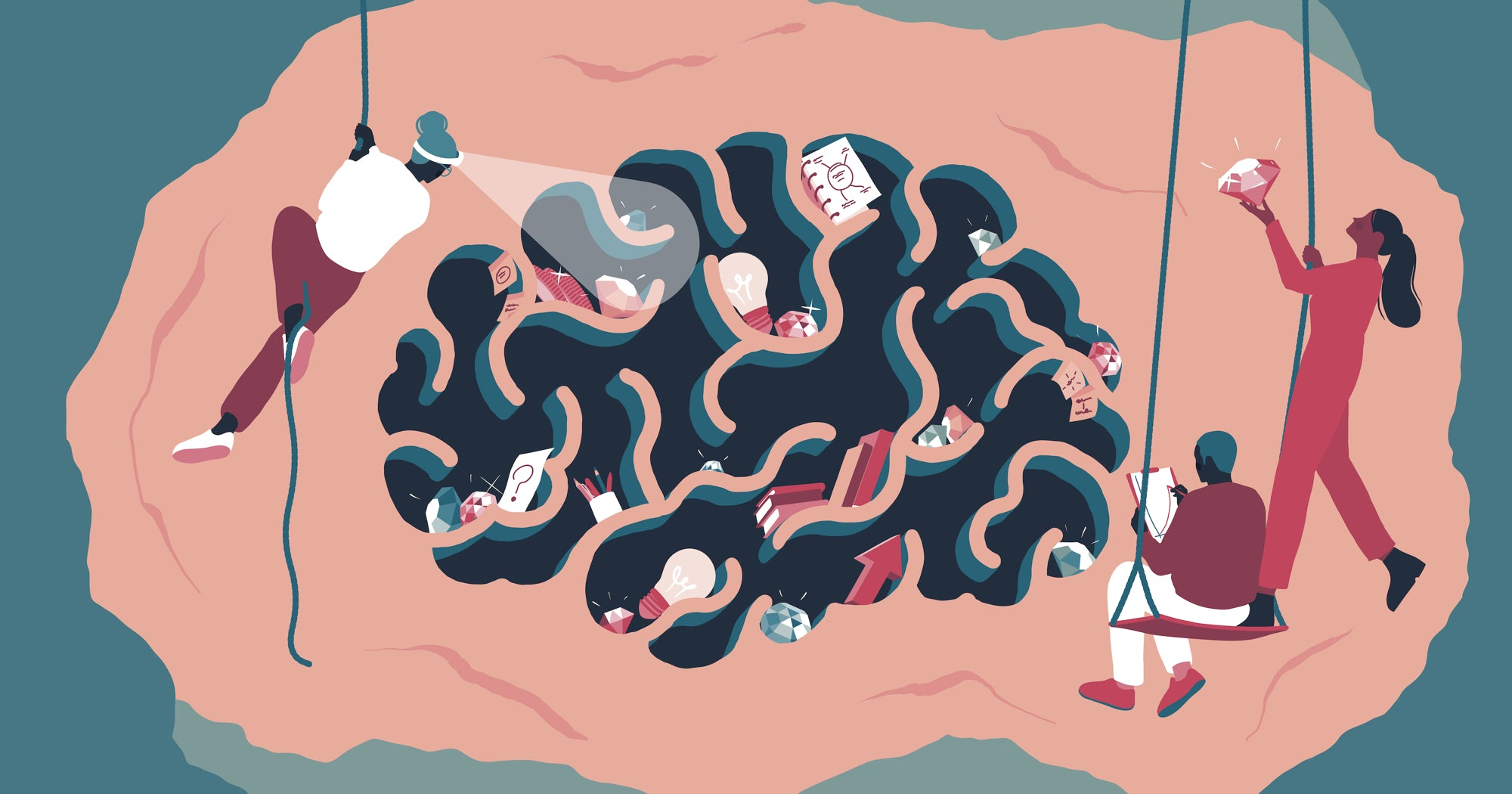 Illustration of people spelunking in a cave shaped like a human brain full of little treasures