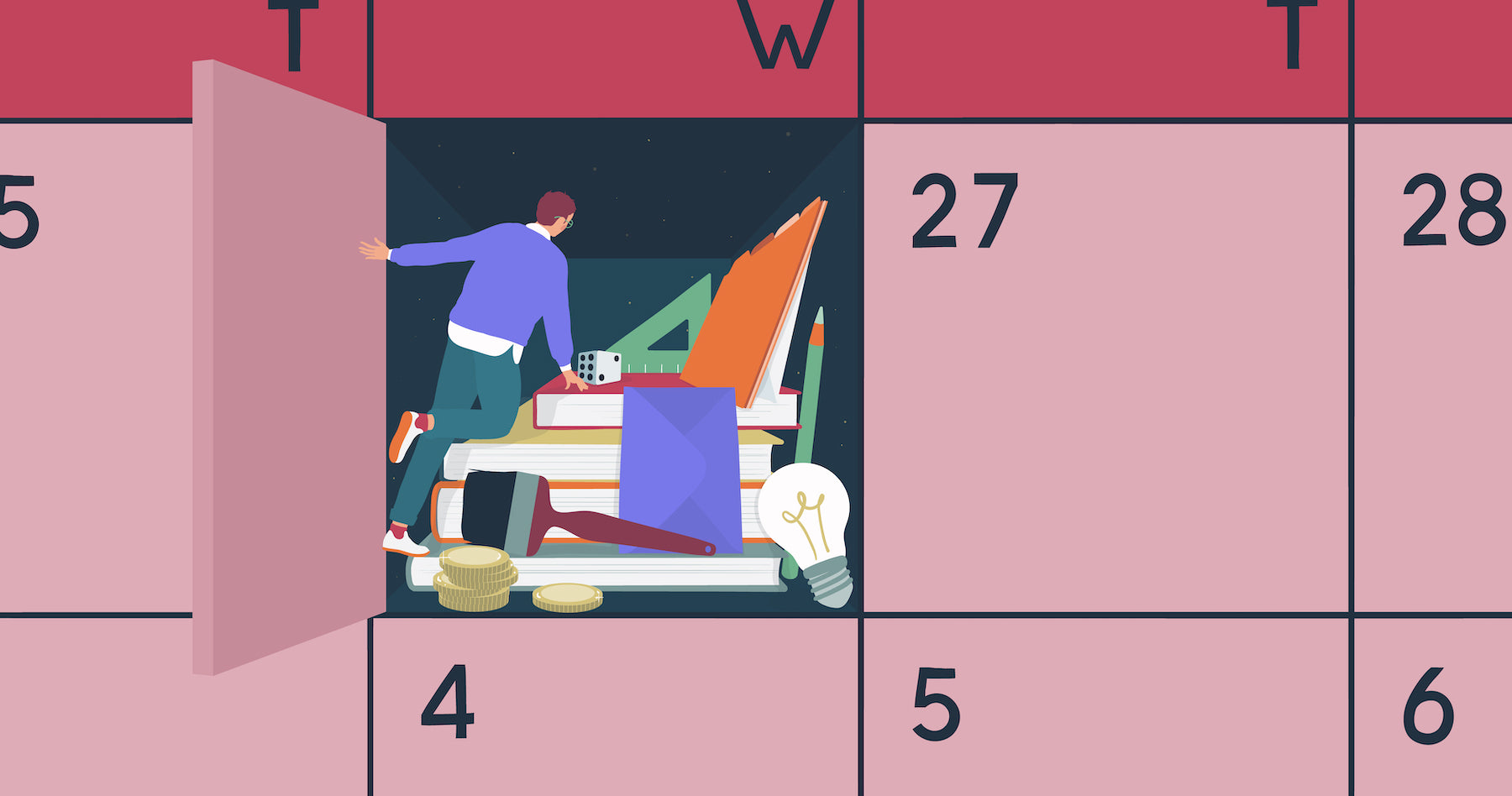 Illustration of a man peering into a calendar to find books and tools to inform him of his horoscope