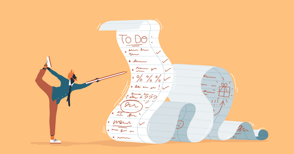 Illustration of a person checking to-dos off an oversized checklist while doing a yoga pose